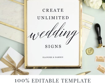 Wedding Sign Template, Editable Sign, Favor Sign, Guestbook Sign, Cards and Gifts, Modern Calligraphy, Instant DOWNLOAD
