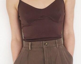 Vintage chocolate brown elastic boho top.one-size