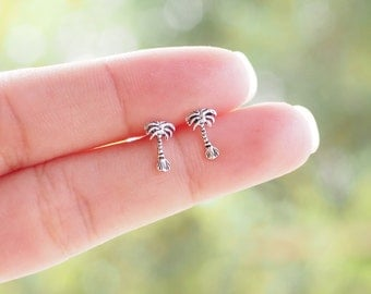 Pair of Tiny Palm Tree Stud Earrings, 925 Sterling Silver, Tropical Earrings, Beach Jewelry - SA157