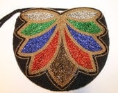 Vintage Beaded Purse - Bl...