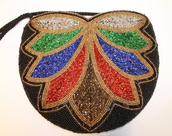 Vintage Beaded Purse - Black Beaded Handbag - Black Gold Red Green Blue Silver Beaded Bag - Free Shipping in Canada and USA