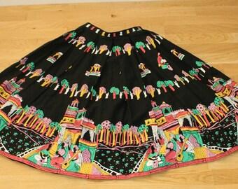Vintage 1950s Novelty Print Skirt Women, 50s skirt, Novelty print,Linen, Small, 1950s skirt,