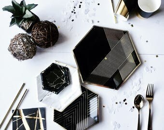PARTY in a BOX KIT Black and Gold , Gold and Black Party Supplies, Gold Party Supplies,Gatsby Party, Party Tableware,Party Decor Kit,