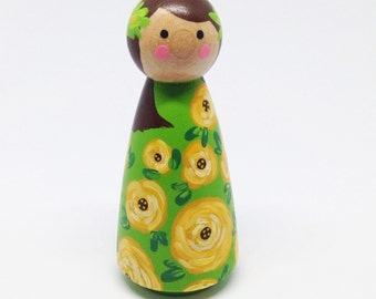 Flower Girl Wooden Peg Doll