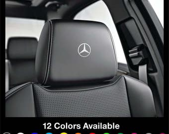 x6 MERCEDES Benz - Motorsport Headrest Car Seat Decals Stickers Graphics Logo Badge - Class A B C E S Gla Cla A45 C63 Coupe for All models