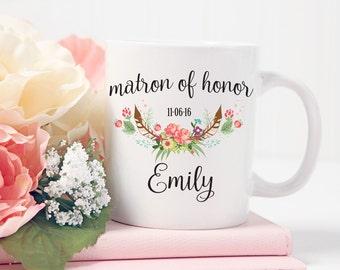 Matron of Honor Mug, Personalized Matron of Honor Gift, Custom Wedding Mug, Gift For Matron of Honor Gift, Wedding Party Gift, Wedding Date