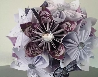 """bouquet origami kusudama (white linen, dragonflies and rhinestone Ribbon) """"the magic of butterflies"""""""