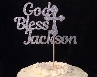 Baptism cake topper, custom cake topper with name, glitter cake topper, cross cake topper, celebrate baptism centerpiece, personalized