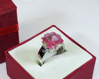 18 mm ring 925 Silver Pink Crystal stone SR433