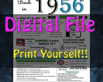 1956 Personalized Birthday Poster, 1956 History - DIGITAL FILE!!