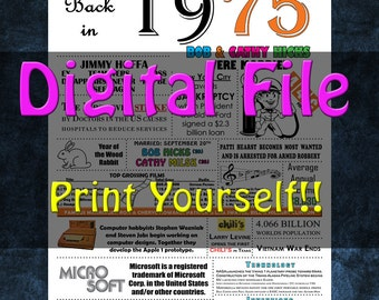 1975 Personalized Anniversary Poster, 1975 History - DIGITAL FILE!!
