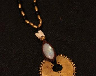 Moonstone Tribal Necklace - Boho - Gypsy - Unique Piece - Pixies - Fairy - Travel - Unique - Shaman - Enlight - Tribal Fusion -Design - Chic