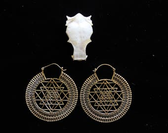 SALES !!Sri Yantra Earrings - Bronze - New Collection - Tribal - Ethnic - Gypsy - Boho - Meditate - Shiva - Triangle
