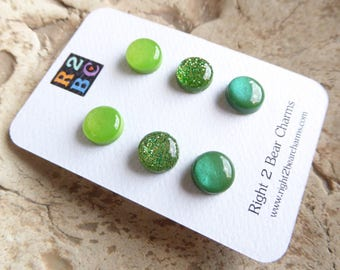Greenery Earrings, Green Stud Earrings, Greenery Jewelry, Surgical Steel Earrings, Resin and Polymer Clay Earrings, 6mm / 10mm Stud Earrings