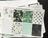 VERTICAL Sea Green Florals Erin Condren Lifeplanner™ Weekly Kit Planner Stickers