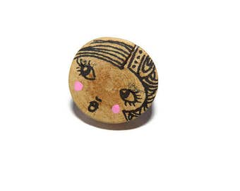 Ring wooden doll-ring wooden jewelry-woman-natural-ring jewelry-boho wood adjustable piece unique-handmade