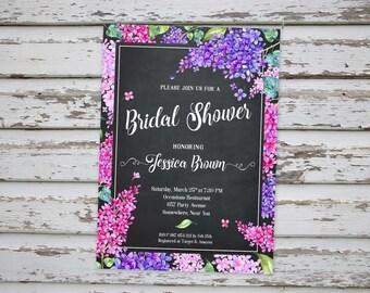 Lilac Bridal Shower Invitation, Lilac Wedding Shower Invitation, Lilac Bridal Shower Invite, Floral Bridal Shower Invitation, Lilac Invite