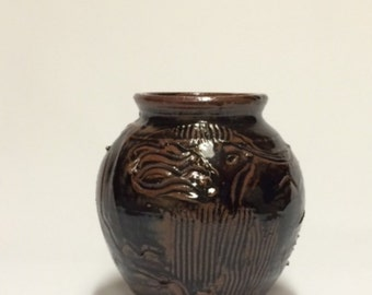 Temoku Glazed jar