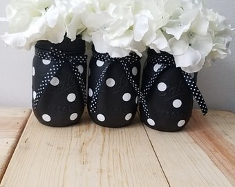 Black & White Polka Dot Home Decor. Polka Dot Mason Jars. Black. White. Painted Ball Jars. Jar Centerpieces. Mason Jar Vases. Flower Jars