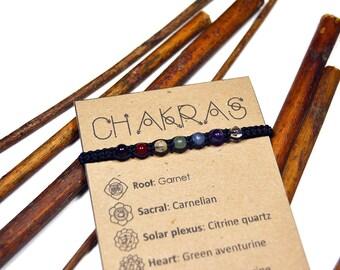 7 Chakras bracelet. Handmade macrame bracelet. Gemstone, stone, crystal. Gift with meaning, card. Magic jewelry, jewellery. Healing.
