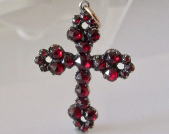 Antique Bohemian Garnet and Gold Cross