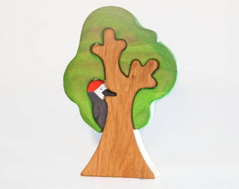WALDORF Tree toy Waldorf nature table Wooden Tree Toy Tree figurine Woodland set puzzle Handmade Eco Friendly Birthday gift
