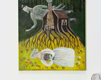 The Wedding - Original artwork macabre folklore painting-bride and groom ghosts in forest on canvas