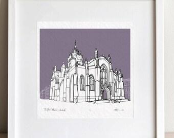 Edinburgh St Giles Cathedral doodle print