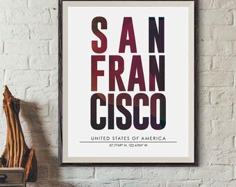 San Francisco City Print, San Francisco Poster, City Names Print, DIGITAL PRINT, City Poster, Cities Wall Art, Subway Poster, Minimalist