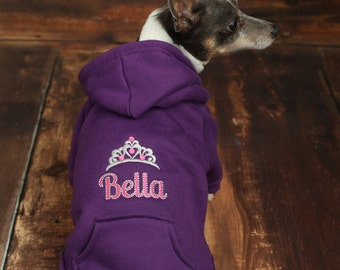 Personalized Dog Hoodie - Custom Pet Hoodie - Personalized Dog Sweatshirt - Princess Dog Shirt -  Personalized Dog Clothes