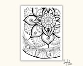 Mandala Coloring Page - Adult printable Colouring Page, Color in, Colour in, PDF printable, Zentangle -Instant Download only