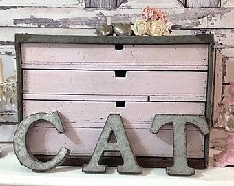 Fabulous Old Chippy Pink Painted Wooden 4 Drawer Industrial Storage Chest Tool Box