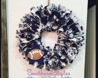 Dallas Cowboys Mini wreath I Dallas Cowboys Door Wreath I Dallas Cowboys I Team Football Wreath I  Dallas Cowboy Fabric Wreath