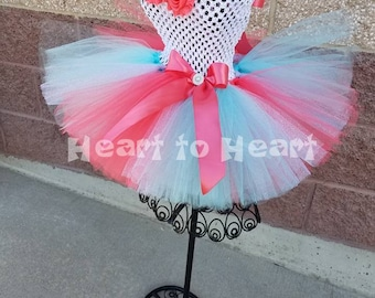 Birthday tutu dress, Flower girl dress, mint and coral tutu, birthday girl outfit set, baptism dress, pageant tutu, pageant dress, coral