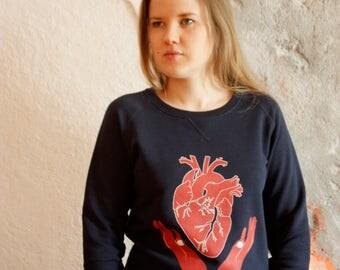 Women's Organic Sweatshirts, Organic Cotton. Organic Sweater. Women's Clothes. Sweater with illustrated print. Anatomical Heart Print.