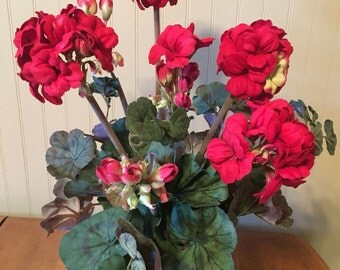 Red Geranium Wall or Table silk floral arrangement