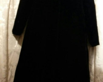 Vintage Full length Velvet Top Coat with Rhinestone buttons