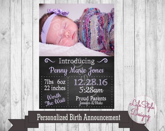 Personalized Chalkboard Birth Announcement - Photo Card - Birth Announcement - Newborn Baby - Baby Girl - Baby Boy - Photo - Printable