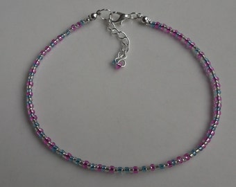 Pink and blue beaded anklet, ankle bracelet, beaded anklet, beach anklet, seed bead anklet, boho anklet, blue anklet, pink anklet