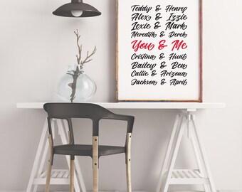 Grey's Anatomy  Couples Print wall custom names, wedding anniversary printable typography, subway art - Offline Printables