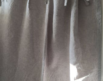 Top ties linen curtains with blackout lining, natural linen curtains with ties, organic linen curtains, bedroom draperies