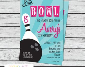 Bowling Birthday Invitation - Girls Birthday Invitation - Printable Birthday Invitation - Bowling Birthday Party - Girls Birthday Party