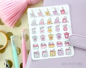 Cleaning and laundry stickers - 30 functional planner stickers