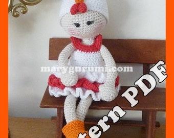 "Crochet Pattern, pattern, tutorial, Amigurumi doll, Bénédicte ""Hen"""