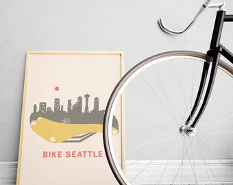 Men's Cyclist Gift – Seattle Skyline - Home Décor - Bike Wall Art Décor – Abstract Art - Washington State - Art Prints - Bicycle Wall Art