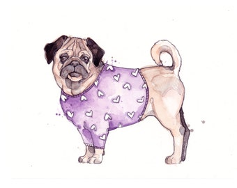 Little Illustration of Pug with Sweater | Watercolor | Drawing | Animal | Marie-Eve Arpin | Dog | Art | Cute | Deco | Pug | Print