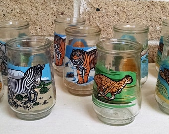 Welch's Endangered Species Glasses - Set of 9 - Includes 7 Different Animals- Rhino Zebra  Cheetah Tiger Elephant Crocodile Turtle