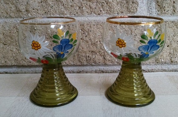 Roemer Wine Glasses - Hand Painted Floral Design - Green Stems and Gold Trim