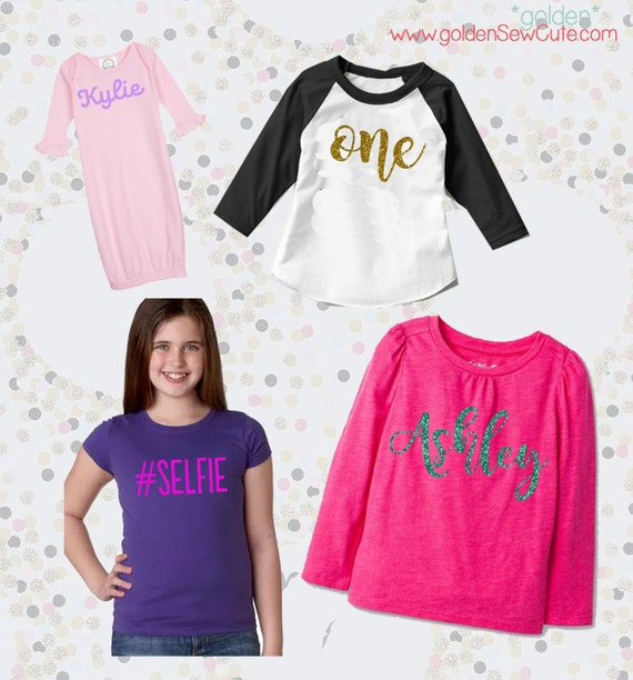 CYBER MONDAY SALE!  Heat Transfer Name or Word Girl Tee, Girls Shirt, Baby Onesie, Baby Gown, Glitter, Custom, Personalized, Initial