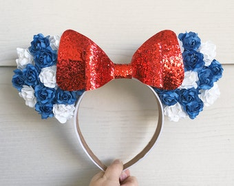 Minnie Mouse Floral Ears / Patriotic Captain America Disney Disneyland Disneybound / Blue White Rose Red Glitter Bow / Mickey Mouse Ears
